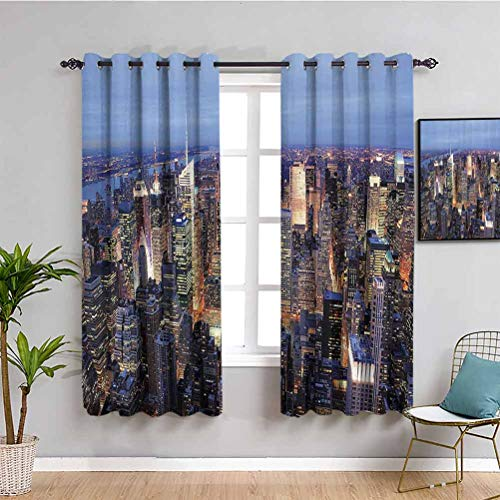 New York Printed Soundproof Privacy Window Curtains Aerial View of NYC Full of Skyscrapers Manhattan Times Square Famous Cityscape Panorama Protective Furniture Blue W63 x L72 Inch