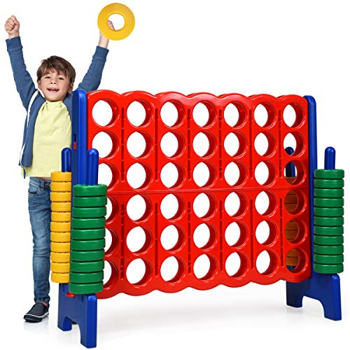 Costzon Giant 4 in a Row, Jumbo 4-to-Score Giant Game Set for Kids and Adults, Indoor Outdoor Family Fun, 4 Feet Wide by 3.5 Feet Tall Connect Game Set with 42 Jumbo Rings & Quick-Release Slider