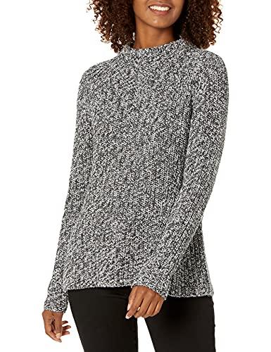 Amazon Brand - Goodthreads Women's Relaxed Fit Cotton Shaker Stitch Mock Neck Sweater, Charcoal Marl, Medium