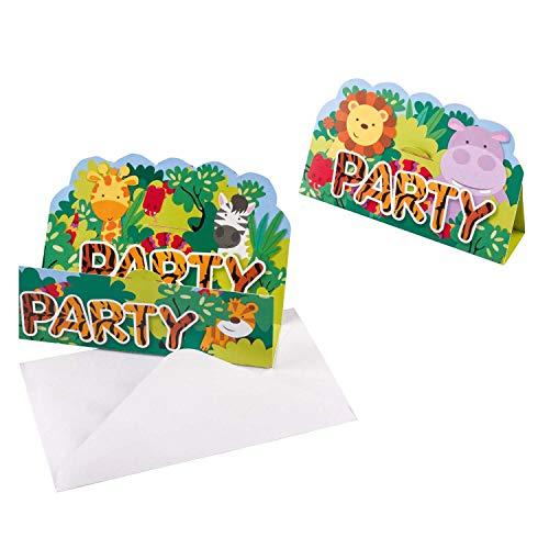 Amscan 9901920 - Einladungskarten Dschungel Tiere, 8 Stück, Größe 8,4 x 13,4 cm, Karten mit weißen Umschlägen, Zoo, Tiere, Party, Einladung, Geburtstag, Kinderparty, Mottoparty, Löwe, Giraffe, Zebra