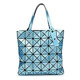 XYAZ Tendencia de moda para mujer bolso de hombro geométrico con costura de cubo de bolso plegable geométrico,cielo azul