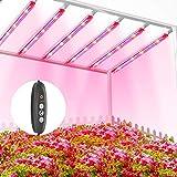 TOPLANET Lámpara de Planta, 60W Lampara Led Cultivo Tubo, T5 Full Spectrum con Luz Azul Roja, 6 PCS Luz Plantas Crecimiento con Temporizador Automático 3/6/12H, 3 Modos Lámpara LED para indoor cultivo