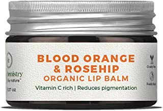 Juicy Chemistry Organic Lip Balm, Blood Orange & Rosehip Lip Care for Dry and Chapped Lips, 5 gm Moisturizing Natural Lip ...