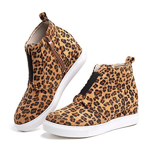 Zapatillas Mujer Cuña Sneakers Plataforma Zapatos Altas Cremallera Botín Respirable Casual Comodas Leopardo Talla 41 EU