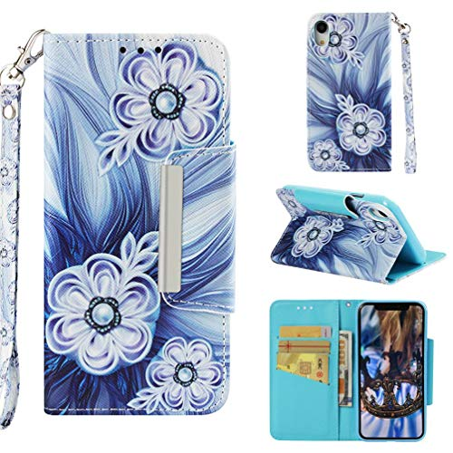 Firefish Case for iPhone Xr,Slim Durable 3D Printing PU Leather Wallet Case with Magnetic Closure & Wrist Strap Credit Card Holder Inner Soft TPU Bumper Compatible with Apple iPhone Xr -Bead Flower