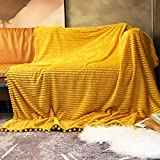 Flannel Throw Blankets, Lightweight Cozy Baby Bed Blanket, Premium Soft Throw Blankets with Pompom Tassels Suit for Travel, Couch, Bed, Sofa(Mustard Yellow, 51'x 63')