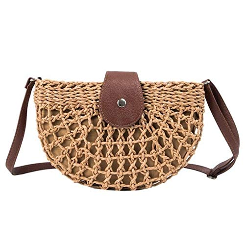 Cvthfyky New Summer Rattan Bags Women Saddle Straw Shoulder Bag Handmade Crossbody Bag Lady Handbags Woven Bohemia Clutch 2020 (Color : Kahki, Size : 11cm)