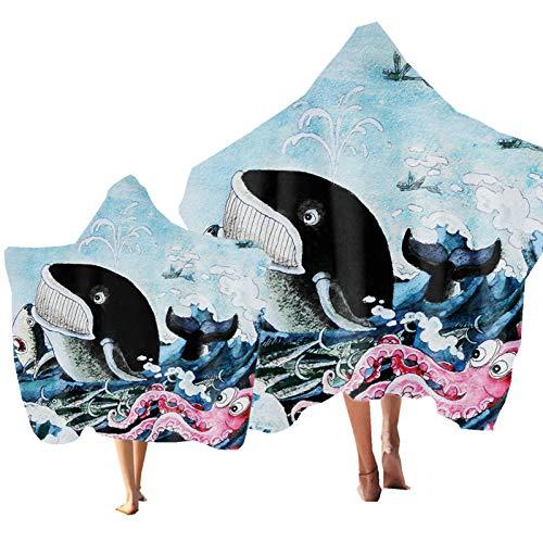 Niño Toalla de Playa con Capucha Pez Delfín Impresión Padre-Hijo Toalla de Baño Microfibra de Verano Poncho Adulto Toalla Deportes, Viajes, Natación, Playa (Color 4, Niño & Adulto 2PCS)