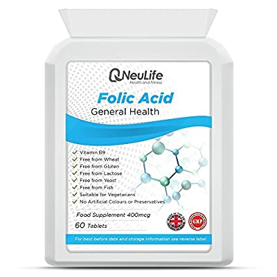Folic Acid 400mcg - 120 Tablets by Neulife Health & Fitness Supplements