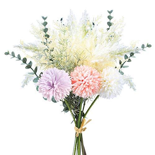 XHXSTORE Ramo de Flores Artificiales Decoracion Mixtos Flor de Seda Bouquet Flores Artificiales para Ramo de Novia Jarrones Hogar Mesa Boda Fiesta Balcon Terraza Cocina Color Rosa y Purpura