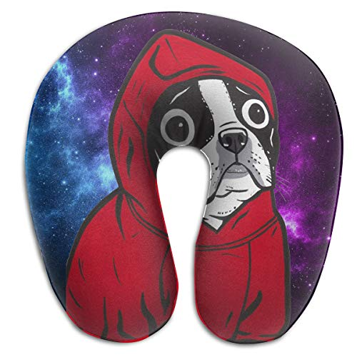 HIBIPPO Boston Terrier in A Red Hoodie Memory Foam Travel Pillow - The Best Neck Pillow with 360 Head & Neck Support