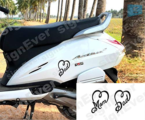 signEver I Love My Mom and Dad Sticker for Bike and Scooters (L x H 6.00 x 9.00 cm, Black) - Pack of 2
