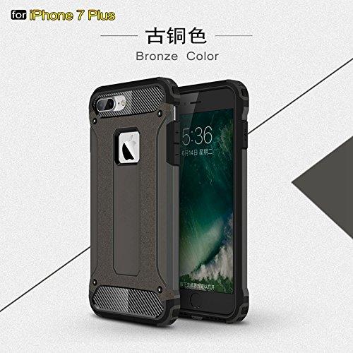 YHUISEN iPhone 7 Plus caso,Doppio strato Heavy Duty ibrido Blind stile resistente PC + TPU Custodia rigida protettiva per iPhone 7 Plus ( Color : Bronze )