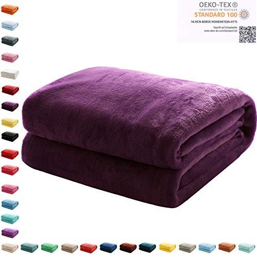 Mixibaby Kuscheldecke Flauschige extra weich & warm Wohndecke Flanell Fleecedecke, Falten beständig/Anti-verfärben als Sofadecke oder Bettüberwurf, Maße Decke Sarah:150 cm x 200 cm, Farbe:Violett