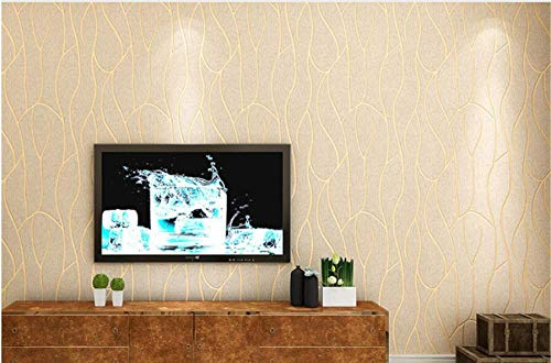 3D Wallpaper Non-Woven Vertical Pattern Wallpaper Cream Color Wallpaper Applicable to Living Room, TV Background Wall Home Decor 9.8mx0.53m