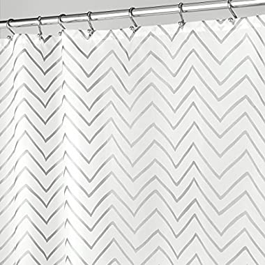 mDesign Decorative Metallic Chevron Print Water Repellent, Fabric Shower Curtain for Bathroom Showers and Stalls, Machine Washable � 72  x 72 - Silver Zig Zag Geometric Pattern, White Ground