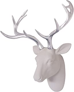 Animal Head Decor Wall Art Deer Sculpture White Flocking Resin Deer Head With Silver Antlers For Wall Decoration Size 15.5