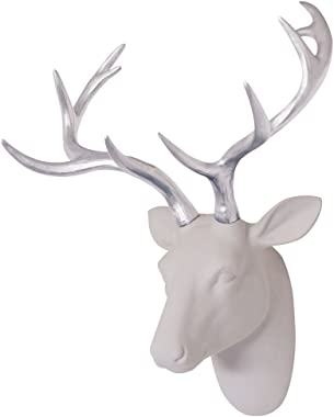 """Animal Head Decor Wall Art Deer Sculpture White Flocking Resin Deer Head With Silver Antlers For Wall Decoration Size 15.5"""" x 10"""" x 7"""" By Smarten Arts"""