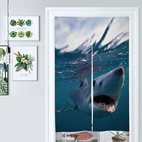 Homenon Japanese Noren Doorway Curtain Hortfin Mako Shark, Isurus Oxyrinchus, Cape Point, South Tapestry Fitting Room Curtain Partition Curtain Door Hanging Tapestry W33.5 x L59 №055709