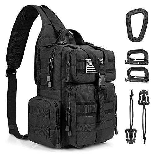 G4Free Tactical EDC Sling Bag Backpack with Pistol Holster Military Shoulder Backpack for Concealed Carry(Black)