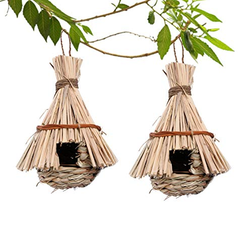 Tfwadmx Hummingbird Houses for Outside, 2 Pack Hanging Hand Woven Straw Bird House Grass Bird Nest Hideaway Hut Roosting Pockets for Outdoor Finch Canary Chickadee