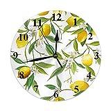 Reloj Pared Redondo Decorativo silencioso,Cuarzo Calidad Requiere 1 Pila AA Limón Transparente Frutas Limón Hojas Patrón Floral Reloj PVC Colorido Ajuste Manual Tiempo cronómetros