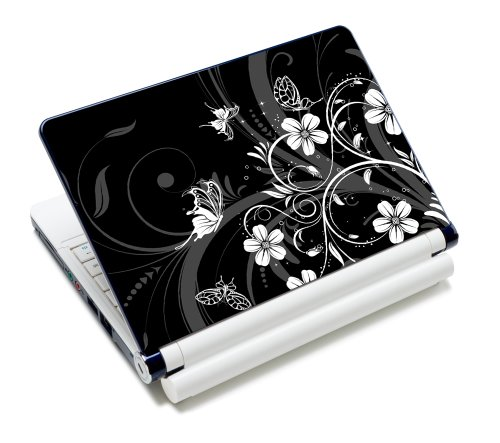 wortek Universal Laptop Aufkleber fur Notebooks bis ca 133 Zoll Schmetterling Ranke Schwarz Weis