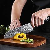 TURWHO Santoku Messer Damast,extra Scharfes Klingenblattö 18cm aus Profi Küchenmesser Damastmesser,Japanisches kochmesser, Japanisches VG-10 & ergonomischer G10 Griff - 5