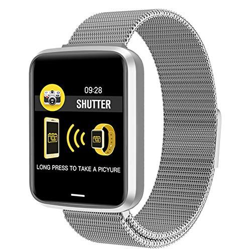 LJMG Reloj inteligente para hombre, IP68, pulsera inteligente con control de frecuencia cardíaca, presión arterial, fitness para mujer con función NFC, C