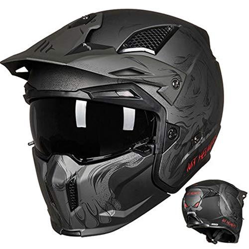 DUTUI Casco de motocicleta para hombre y mujer, estilo retro, con combinación de combate de calle, medio casco completo, Harley motocicleta, XL