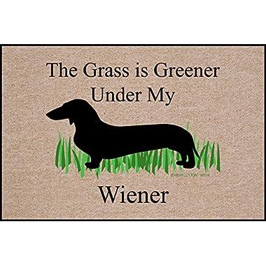 The Grass is Greener Under My Weiner Dachshund Doormat
