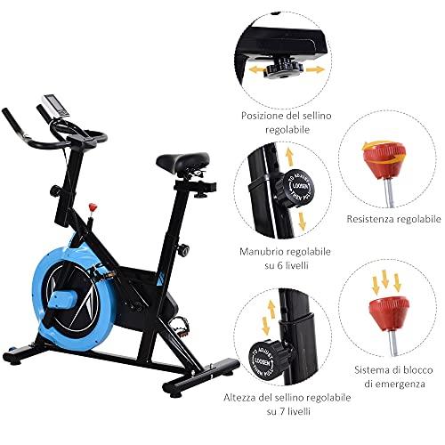 homcom Cyclette con Trasmissione a Cinghia, Bicicletta da Allenamento con Manubrio Sellino Regolabili, Schermo LCD, Fino a 120kg, Nero e Azzurro
