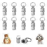 HO2NLE 10pcs Etiquetas de Identificación de Mascotas de Acero Inoxidable Medallas Perro Etiquetas de Dirección Acanaladas Colgante Tag ID Nombre Caja Cápsulas para Cachorro Gato Gatito 5mm