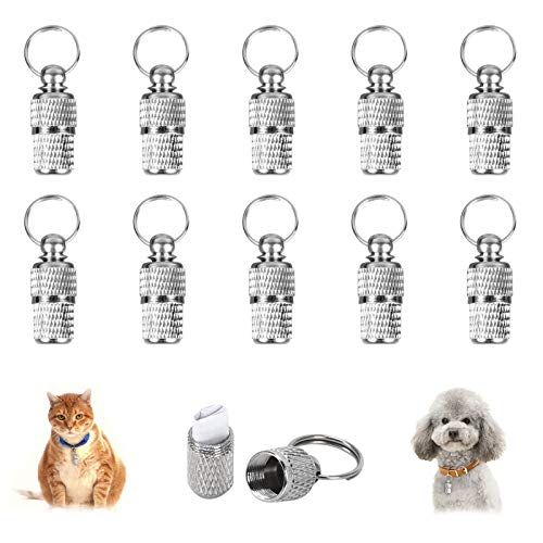 HO2NLE 10 Stück Adressanhänger Hunde Katze Hundemarke Tiermarke mit Schlüsselring Hundeanhänger Halsbandanhänger für Katzehalsband Hundehalsband Anhänger Adresshülse Silber