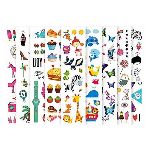 12 Feuilles Tatouages ??stinker Zoo Tatouages ??temporaires Animaux Et Nail Sticker Pour Enfants Enfants Grils Garçons Faux Tatouage Fleur Autocollants De Papillon De Chat Parfait Pour Les Enfants De
