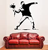 (100 x 99 cm) Banksy Flower Thrower vinilo adhesivo decorativo para pared Protest/Street lámina de decoración de diseño de grafiti de Vinilo/DIY Home extraíble de tela + adhesivo de vinilo al azar incluye caja de regalo