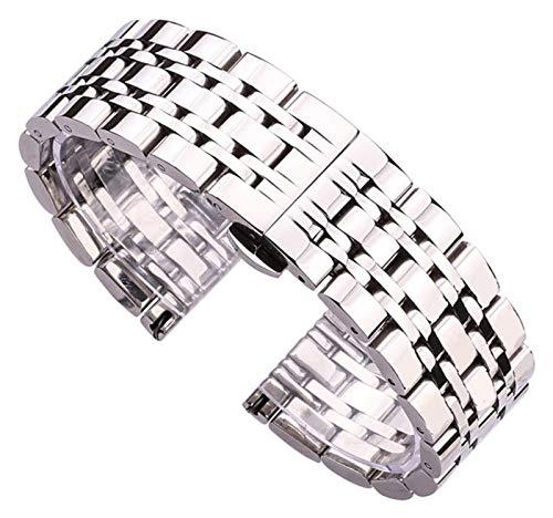 Seupeak Watch Strap Stainless Steel Watchband Bracelet 20mm 22mm Men Metal Polished Watch Band Strap Clocks Accessories Bracelet (Color : Silver, Size : 24mm)