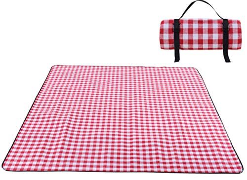 Bele 200 * 300 cm Picknickmatte Manta Picknickdecke Camp Teppich feuchtigkeitsbeständig Wasserdicht, langlebig, tragbar, maschinenwaschbar, Rot-weißes Gitter, 200 cm, 200 cm