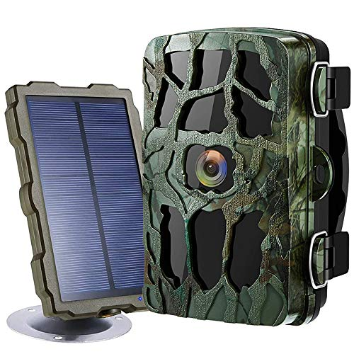 Trail Game Camera 4K 20MP 1080P Night Vision 98ft/30M 0.2s Motion Activated IP66 Waterproof 120° Wide Angle Lens 2.4' LCD Screen Hunting Scouting Cam with Portable Solar Panel and 32GB Card