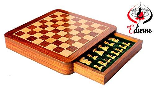 Carré en bois aimanté avec damier et tiroir avec pièces d'échecs - 30 x 30 cm - Bois de sheesham blanc - Pour jouer aux échecs en voyage