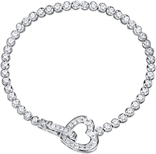 "FANCIME 14K Solid White Gold Open Heart Circle 1.42cttw Genuine Diamond Wedding Bridal Prom Tennis Bracelet For Women Girls (Clarity SI2, Color I-J), Length 7"" Width 3-3.5mm"