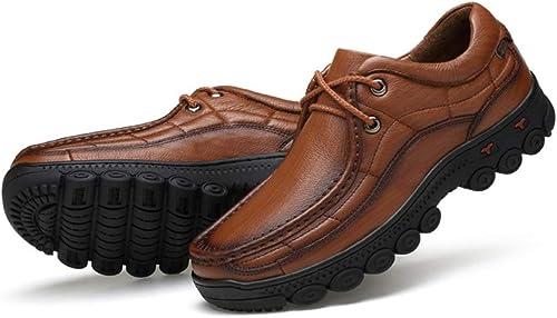 LUCKYEUD zapatos De Cuero para Hombre con Derby Boda zapatos De Negocios Oxford Suela De Caucho Viaje De Placer,marrón-A-EU39