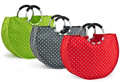Shoppertasche Pünktchen Tasche Einkaufstasche Taschen in GRÜN mit Punkten