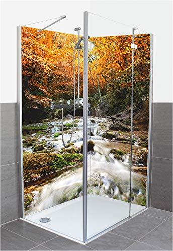 Artland Duschrückwand Eck mit Motiv Fliesenersatz Alu Rückwand Dusche Duschwand Bad 2 Segmente Wunschmaß Natur Wald Wasserfall Steine Ocker T5TE