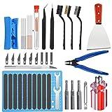 HAWKUNG 36 PCS Impresora 3D Tool Kit, 3 en 1 Boquilla Cambio Herramienta, Agujas, Alicates, Raspador, Cepillo, Estera de Corte, Limpiar Cuchillos para Cambio de Boquilla y Modelo Quitar, limpiar
