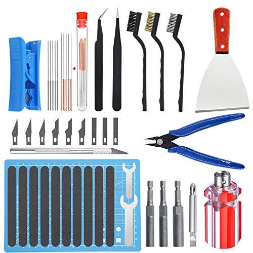 HAWKUNG 36 PCS Stampante 3D Tool Kit, 3 in 1 Attrezzo Ugelli Change, Aghi, Pinze, Raschietto, Spazzola, Tappetino da Taglio, Coltelli da Pulizia per Cambio Ugello e Modello Rimozione, Pulizia