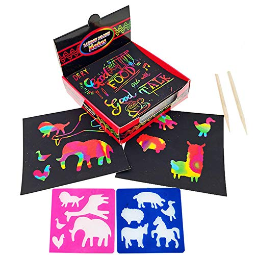 100 Große Blätter Kratzbilder Set für Kinder,Kratzpapier Set, Magic Scratch Book, Regenbogen Kratzpapier zum Zeichnen und Basteln   mit Schablonen, Holzstiften und Stickern (Colorful, 100pcs)