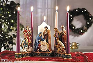Elysian Gift Shop The Story of Christmas 5.25 Diameter Christmas Nativity Advent Wreath Countdown to Christmas Decorative 4 Candles Candle Holder