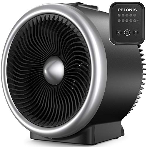 Pelonis Space Fan Heater, 2 in 1 Electronic Control Adjustable Thermostat, Portable Vortex Heater and Air Circulator Fan for All Seasons Use & Whole Room Use, Auto Tip-Over Shut Off (Silver)