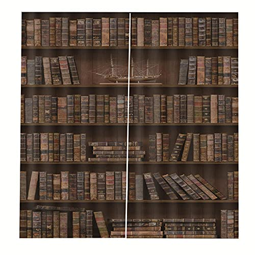 Blackout Curtains Historic bookshelf 2 x 36' x 84.3' Thermal insulation, sunshade, noise reduction, anti-peeping eyelet decorative curtains 2 Pieces